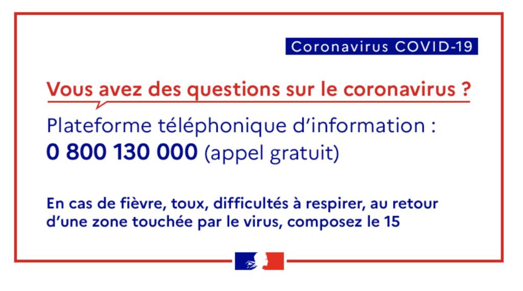 numéro téléphone coronavirus